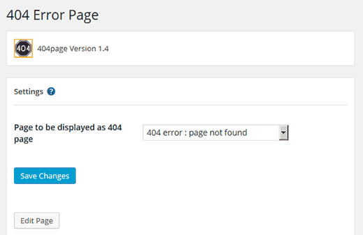 Settings page for 404page plugin for WordPress